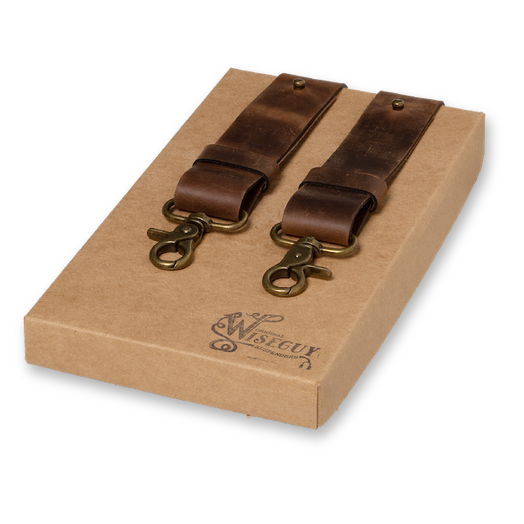 Wiseguy Suspenders - Crazy Horse Genuine Dark Brown Wide (1)