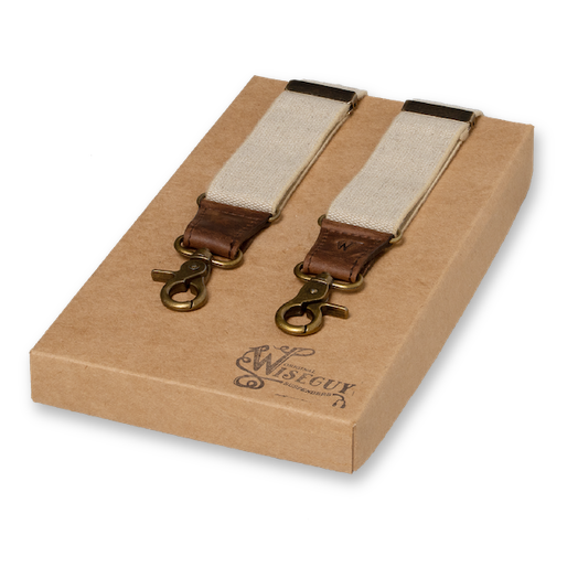 Wiseguy Suspenders - Charger Sand on Dark Brown (1)